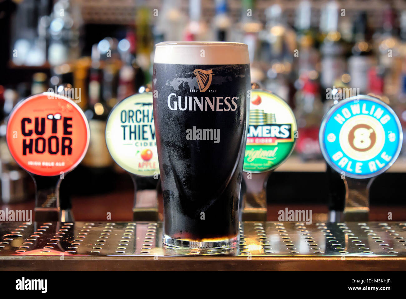 Pint of Guinness in front of different ale and beer pumps, The Merchant's Arch Bar & Restaurant, Temple - Stock Image