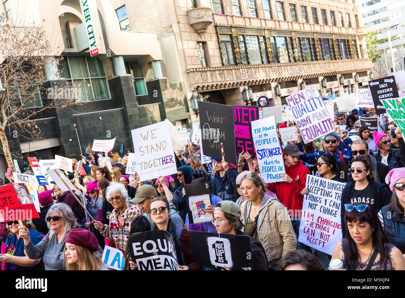 Woman's  March in Downtown Los Angeles, January 20, 2018 Stock Photo