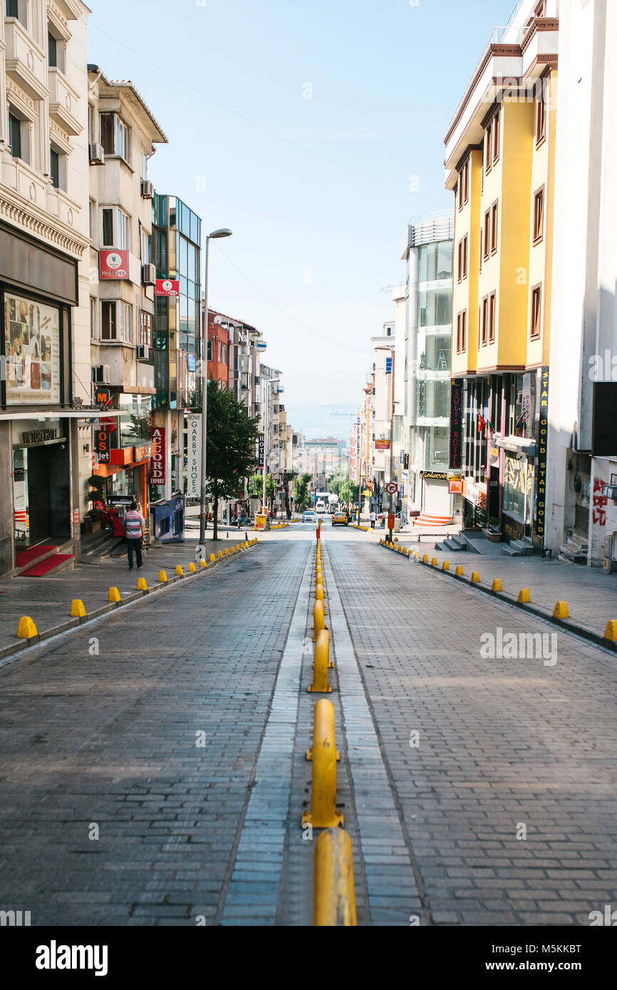 Istanbul, June 11, 2017: Editorial image of pespective view down the road on passage street with no traffic in Aksaray, Stock Photo