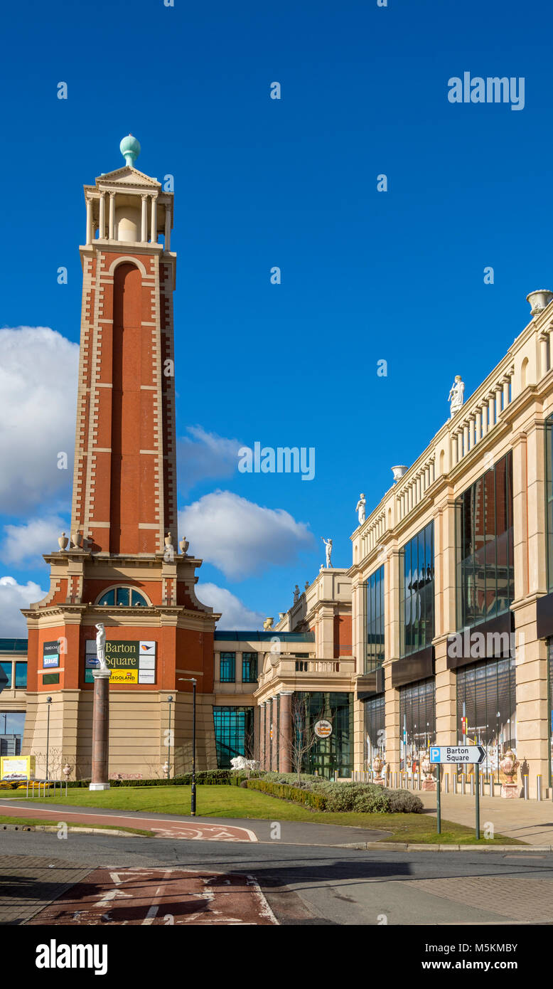 The tower at the entrance to Barton Square at the intu Trafford Centre, Manchester, UK - Stock Image