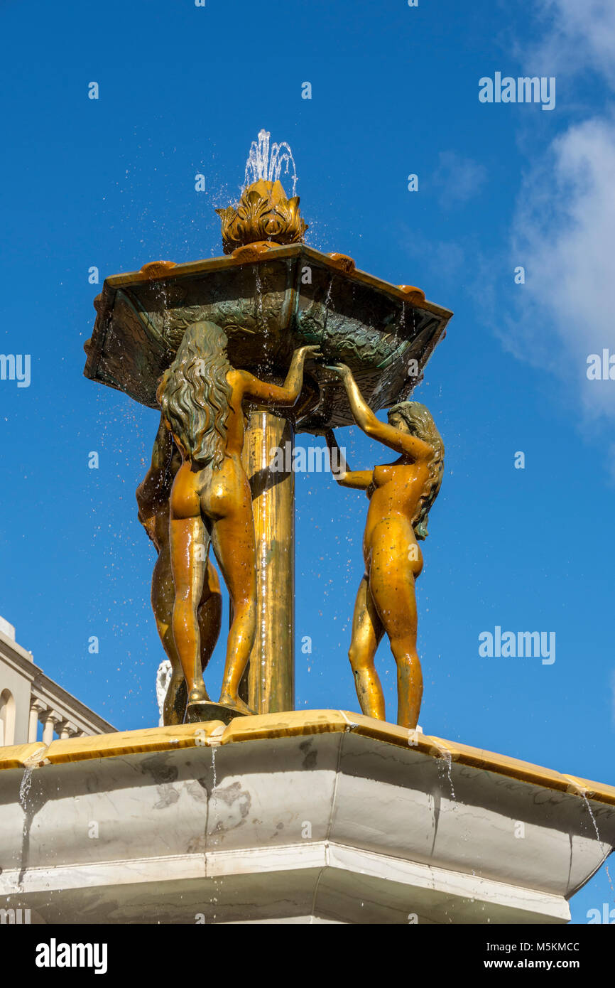 Fountain in Barton Square at the intu Trafford Centre, Manchester, UK - Stock Image
