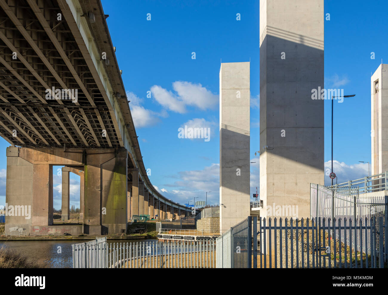 The M60 high level and the new A57 lifting bridge (2017) crossing the Manchester Ship Canal at Barton-upon-Irwell, - Stock Image