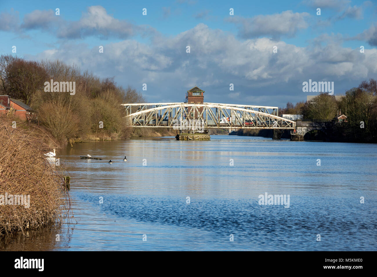The Barton Road Swing Bridge and the Barton Swing Aqueduct from the Manchester Ship Canal at Barton-upon-Irwell, - Stock Image