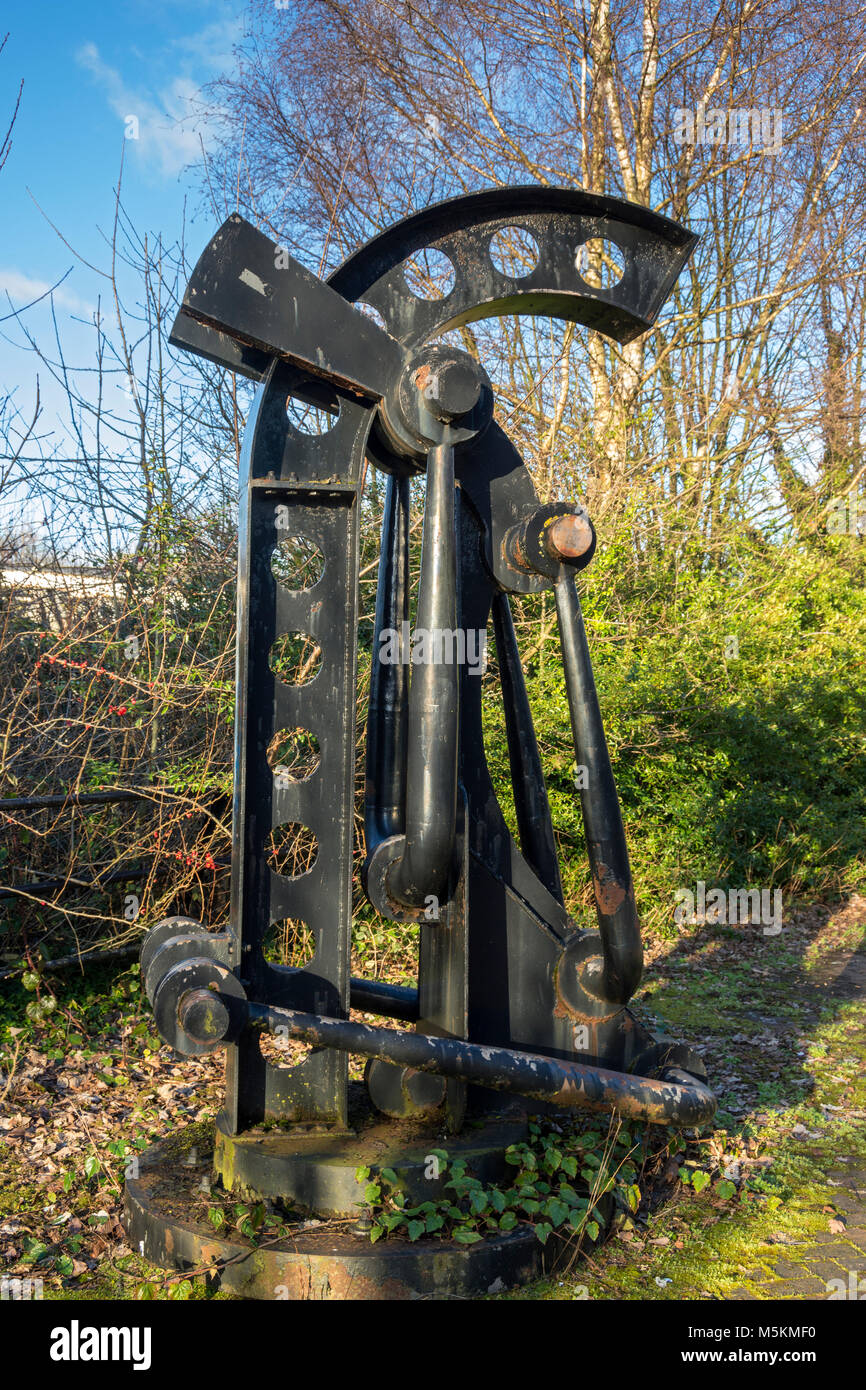 Metal sculpture near Barton Swing Bridge at Barton-upon-Irwell, Salford, Manchester, UK.  Artist not known. - Stock Image
