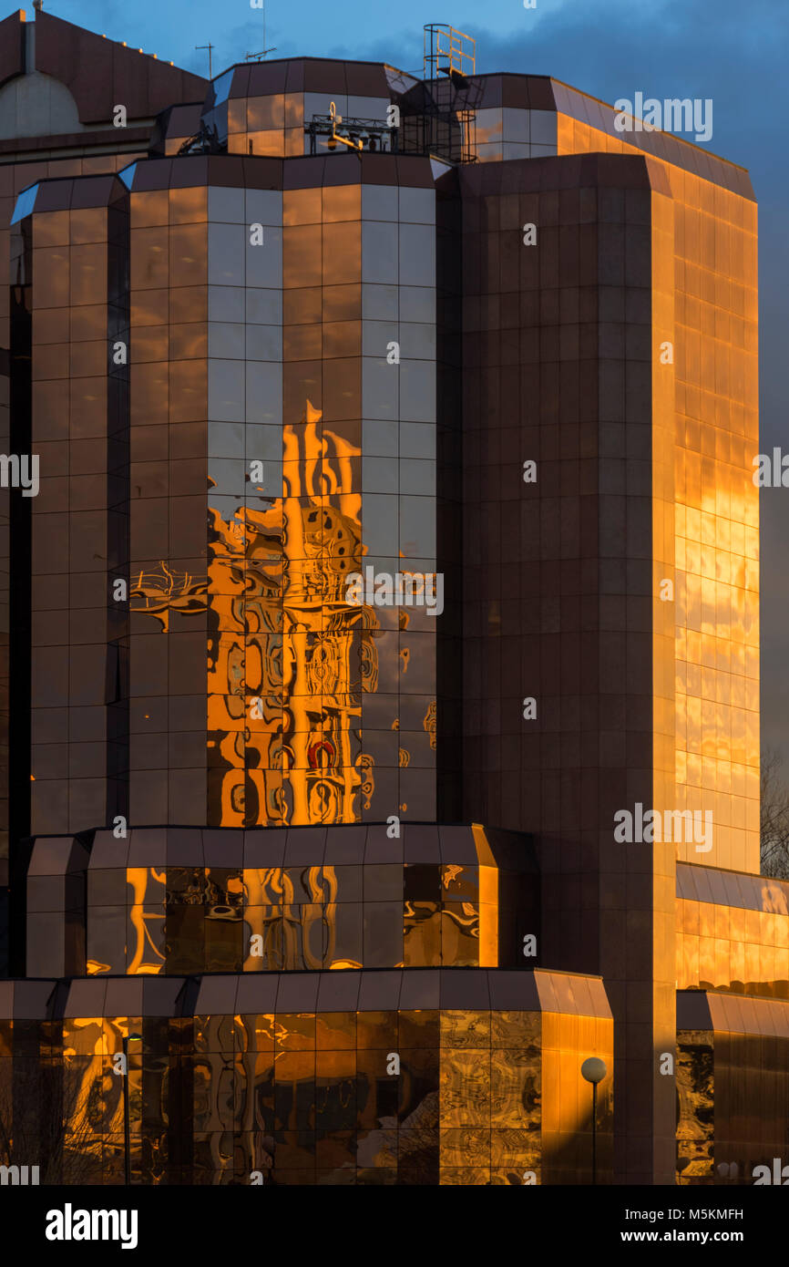 Late afternoon sun on the Quay West office building, Trafford Wharf, Salford Quays, Manchester, UK - Stock Image