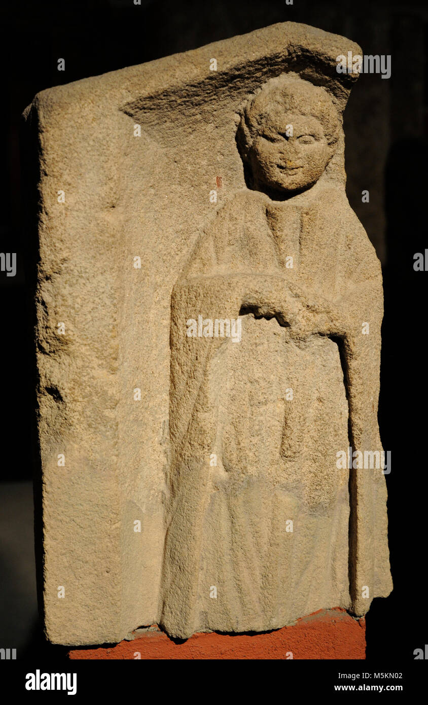 Funerary monument depicting a chubby child holding an apple. 2nd-3rd centuries. Found in Cologne, Germany. - Stock Image