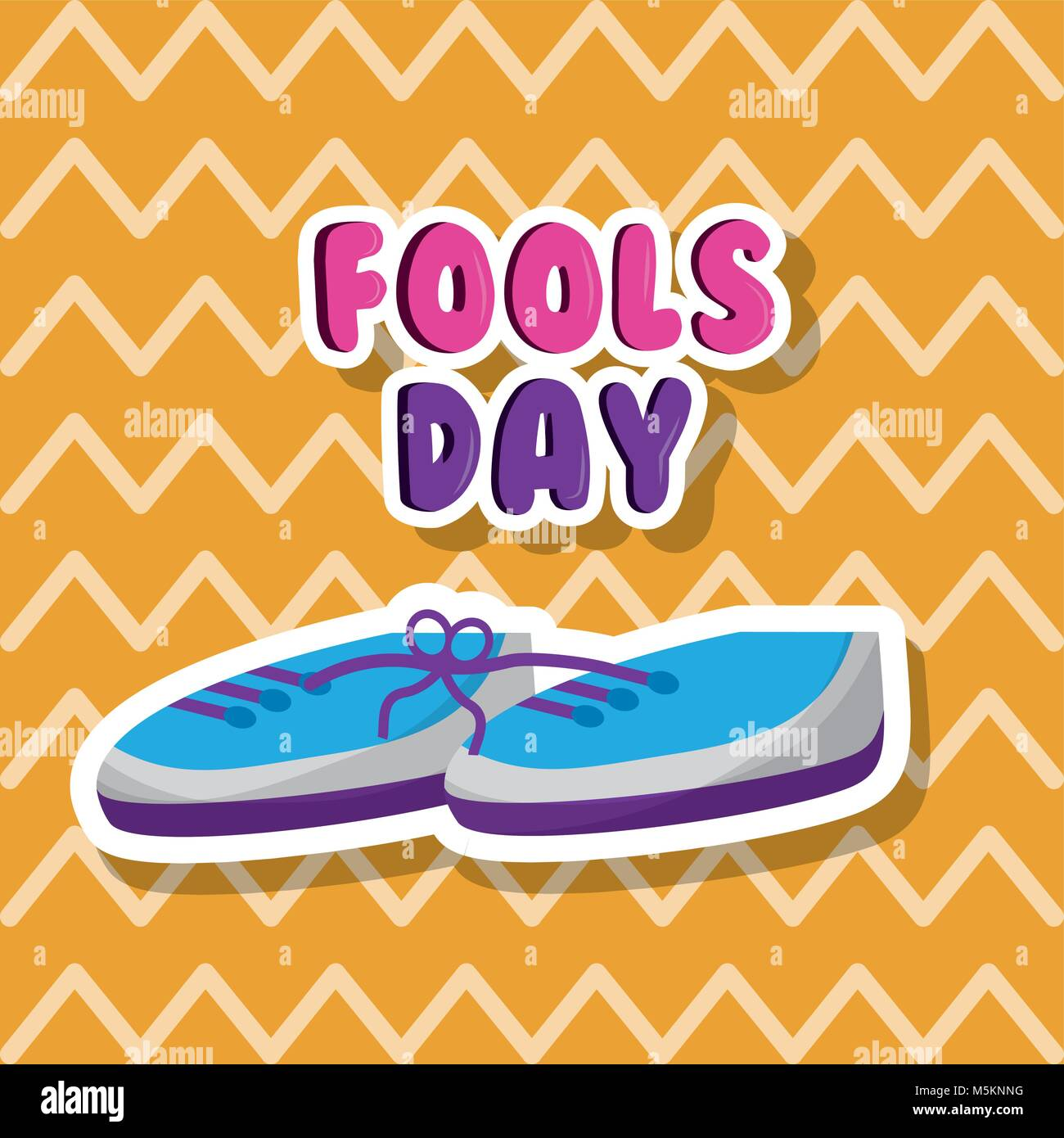 pair shoe with tied laces prank fools day - Stock Vector
