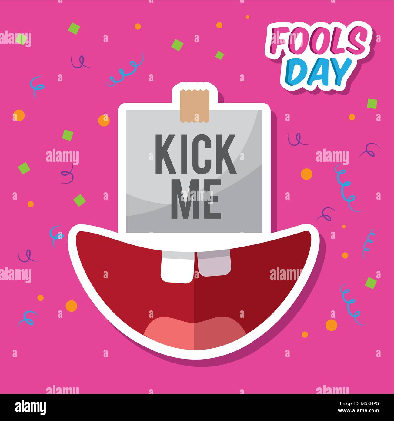 kick me prank paper sticker and happy mouth - Stock Vector