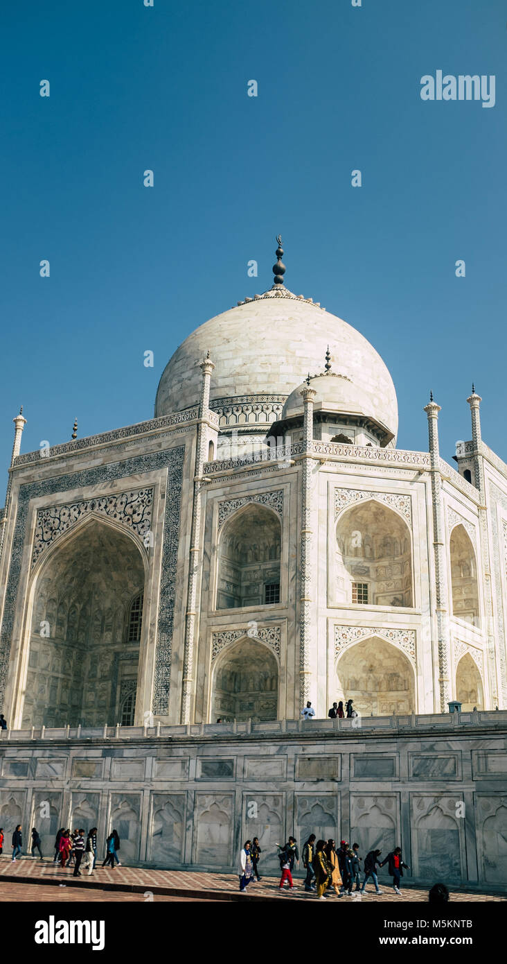 The Taj Mahal with construction on one
