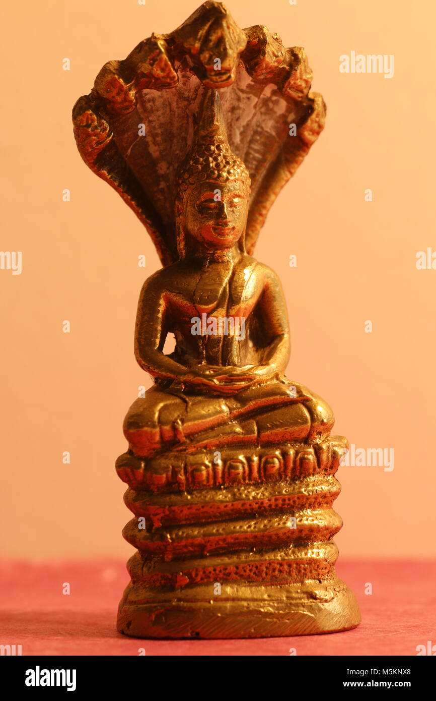Buddha statue with a seven headed snake - Stock Image