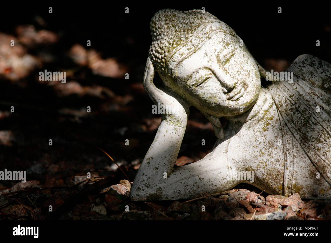 Head of a Buddha statue - Stock Image