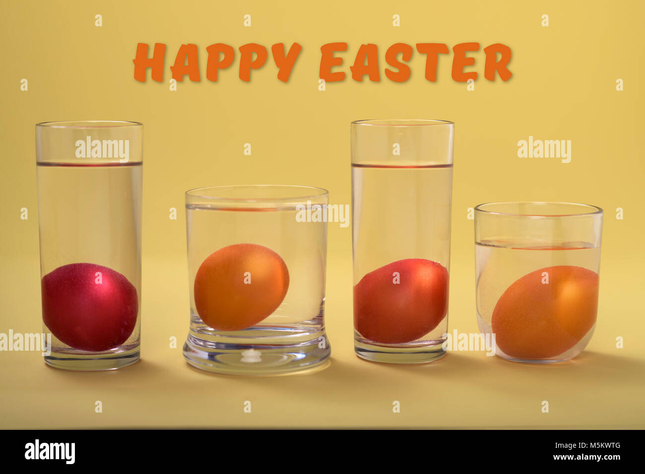 easter eggs in glass-happy easter - Stock Image