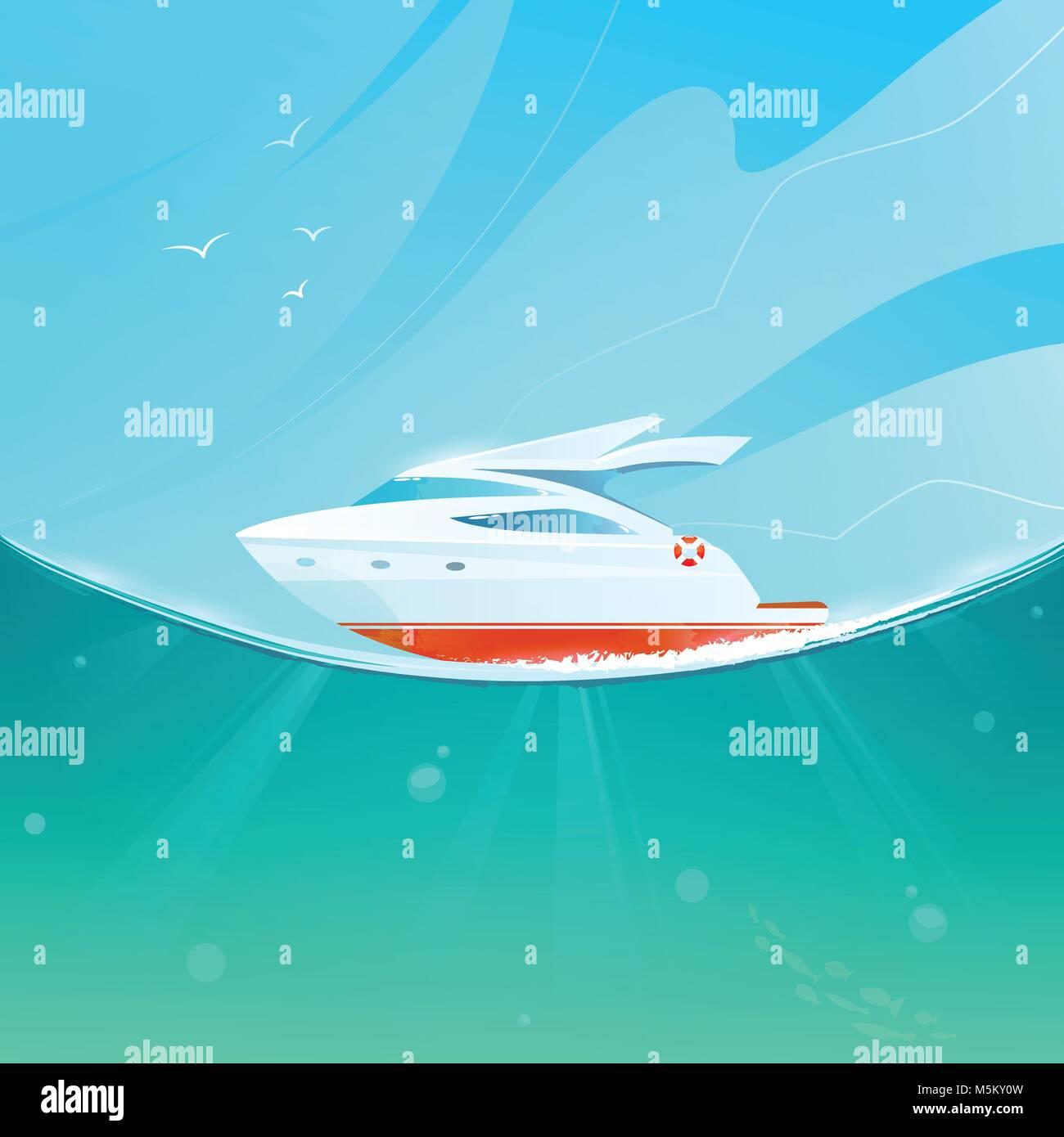 Cartoon yacht against the sky and sea. - Stock Vector