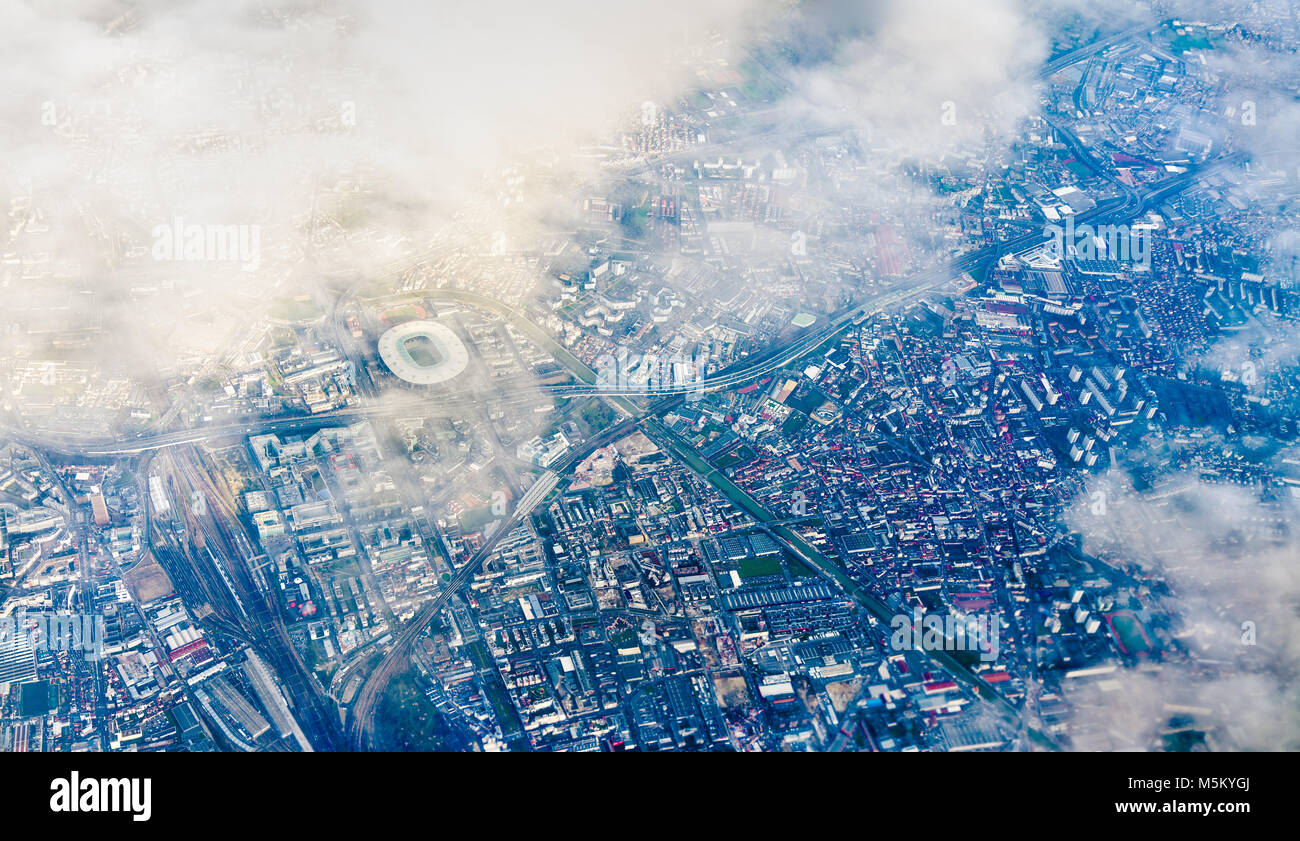 Aerial view of Saint-Denis with the Stade de France. Nothern suburb of Paris - Stock Image