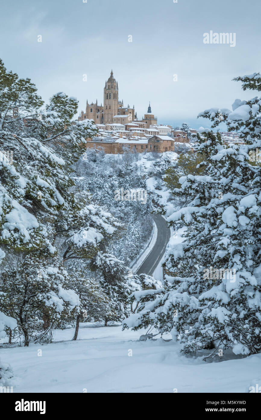 Panoramic view of Segovia during winter - Stock Image