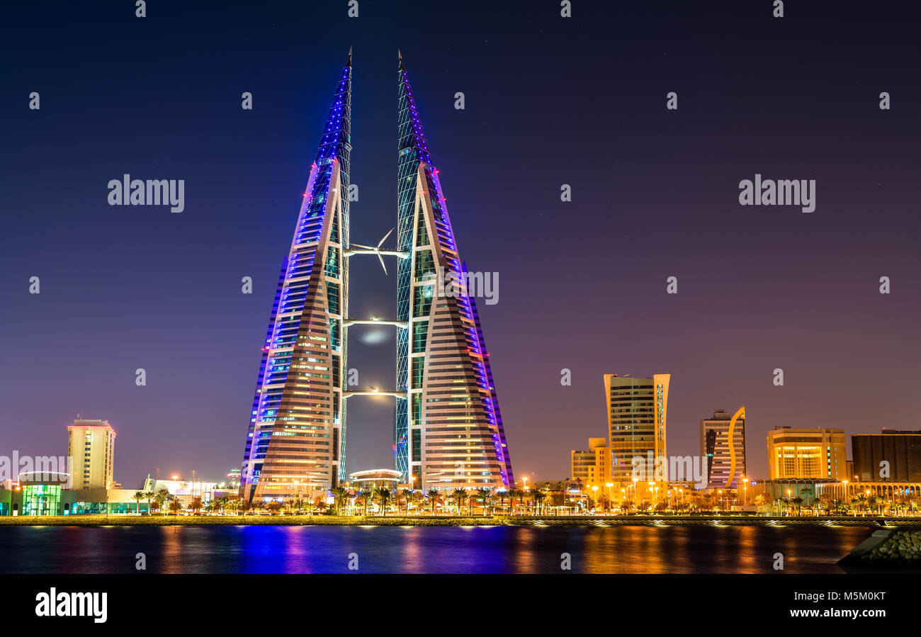 Skyline of Manama dominated by the World Trade Center Building. Bahrain - Stock Image