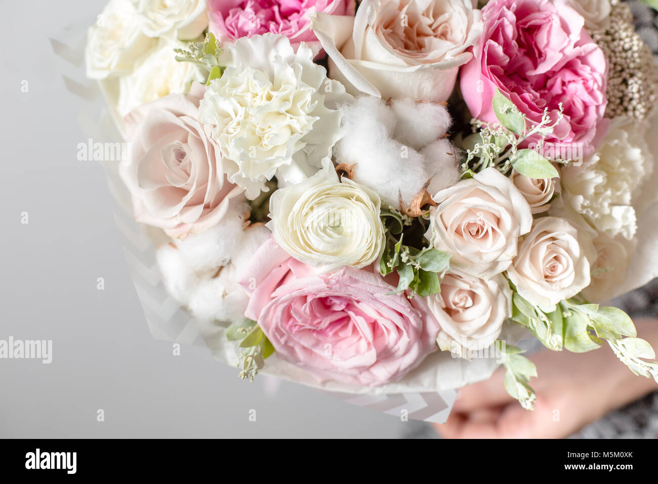 Mix flowers luxury bouquets in the girls hands stock photo mix flowers luxury bouquets in the girls hands izmirmasajfo Choice Image