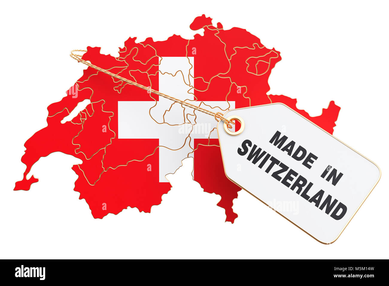 Made in Switzerland concept, 3D rendering isolated on white background - Stock Image
