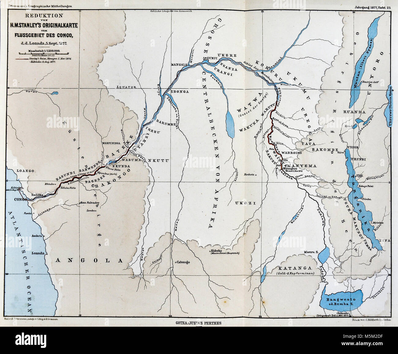 Map Of Africa Congo River.1877 Petermann Mittheilungen Map Of The Congo River In Central