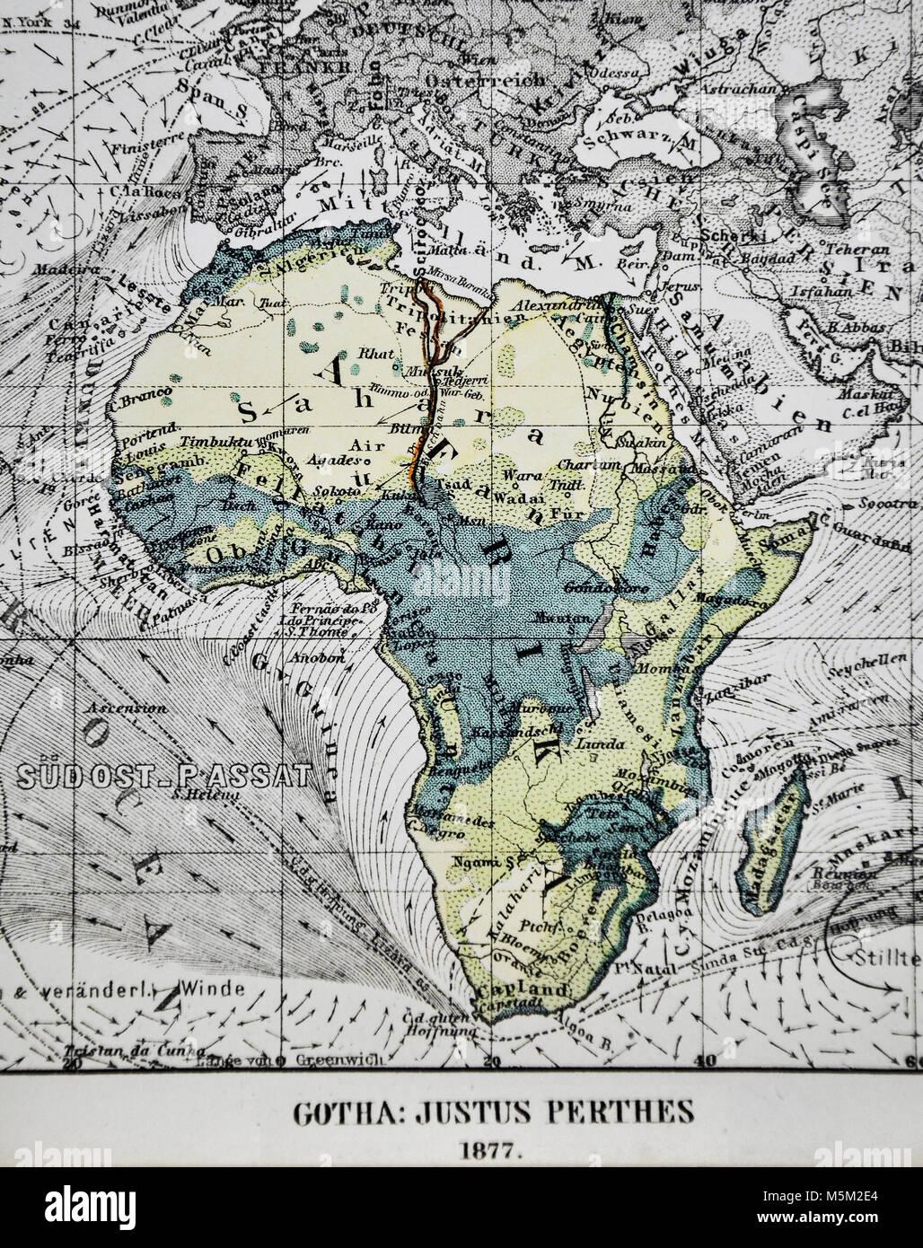 1877 Petermann Mittheilungen Physical Map of Africa showing Ocean