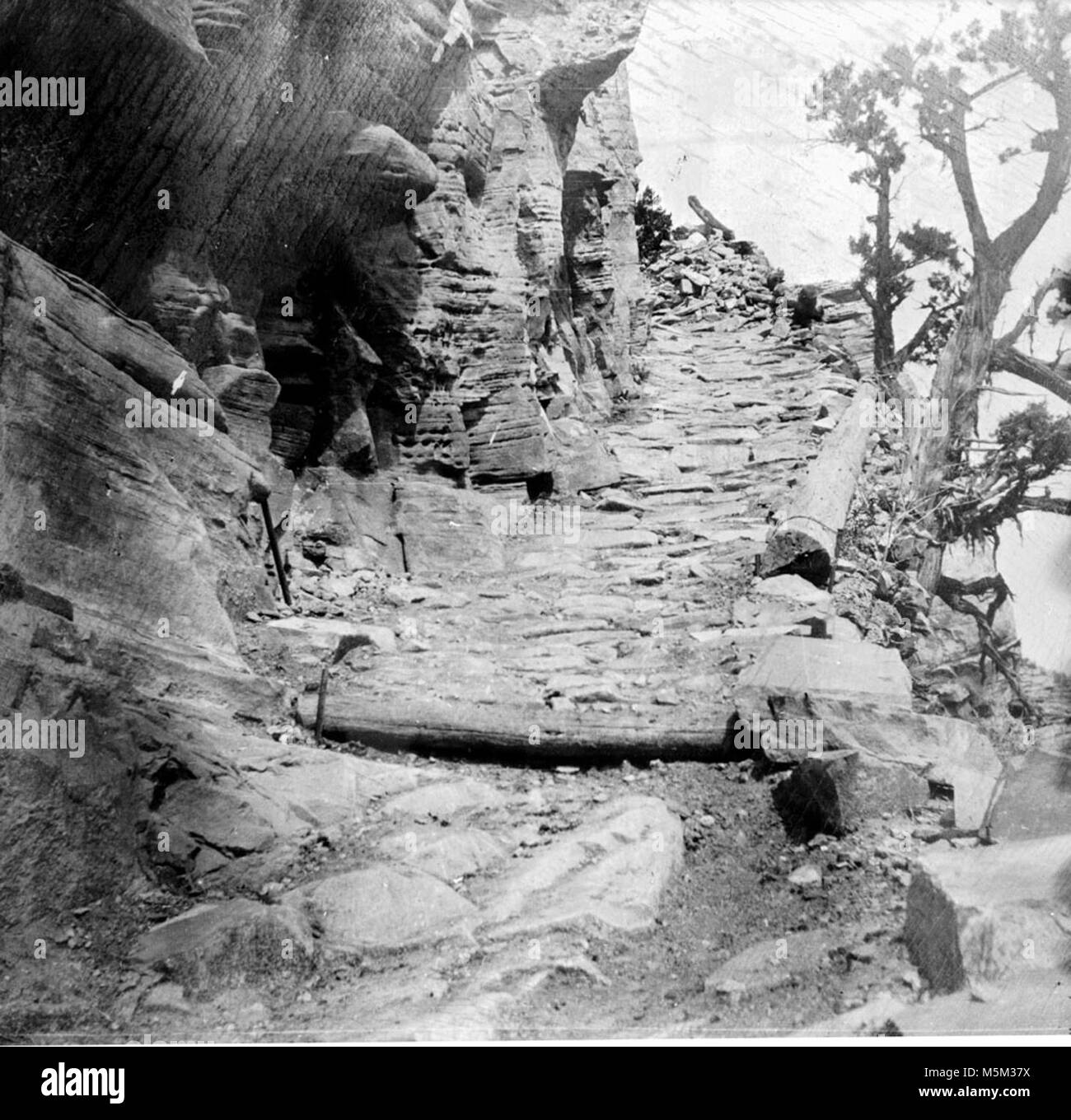 Grand Canyon Historic Grandview Trail . LOOKING UP A STEEP GRADE ON THE GRANDVIEW TRAIL.  LOG CRIB AND COBBLESTONE - Stock Image