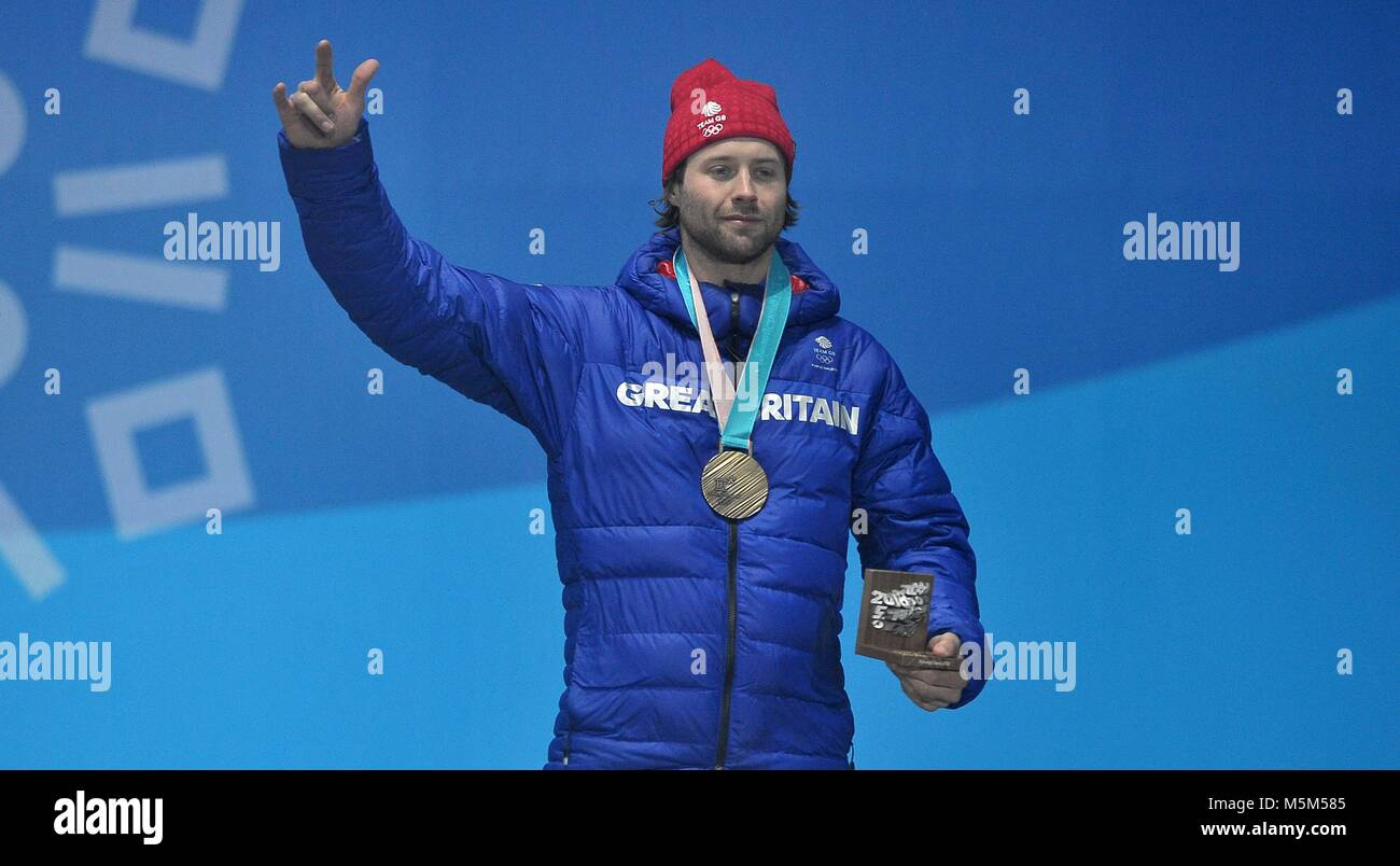 PyeongChang, South Korea, 24 Feb 2018.  Billy Morgan (GBR) with his bronze medal. Medal ceremonies. Pyeongchang - Stock Image