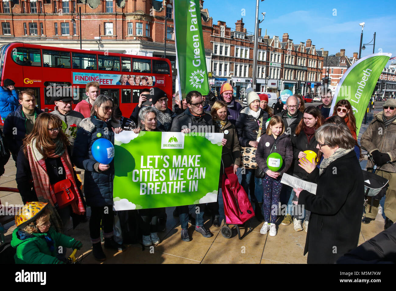London, UK. 24th February, 2018. Green Party London Assembly Member Caroline Russell speaks at the launch in Brixton - Stock Image
