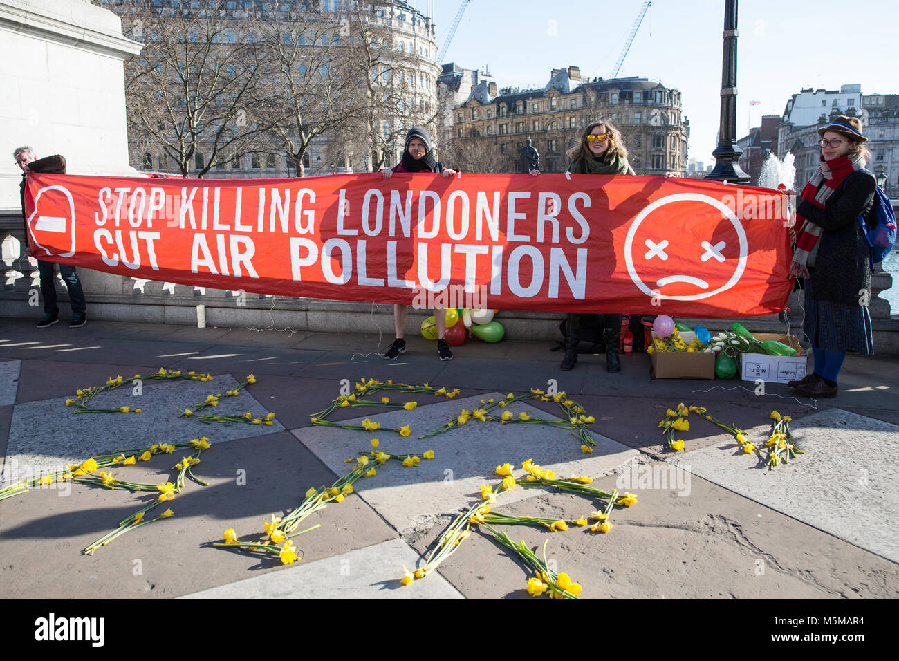 London, UK. 24th February, 2018. Environmental campaigners from the London Clean Air Coalition, a new network of - Stock Image