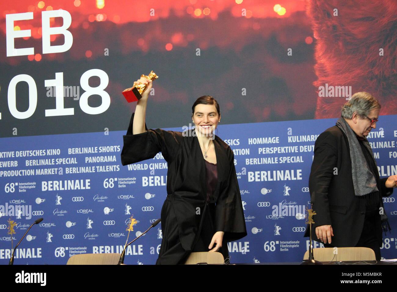 Berlin, Germany. 24th February, 2018. Winner 68th Berlinale,  golden bear, Goldener Bär Best Film: 'Touch - Stock Image