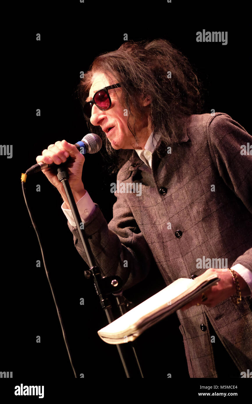 Wyeside Arts Centre, Builth Wells, Powys - Saturday 24th February 2018 - Poet Dr John Cooper Clarke performs live - Stock Image
