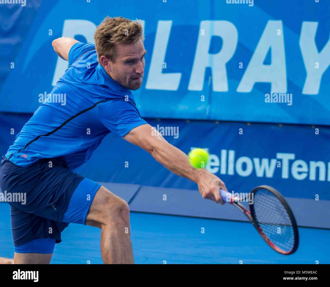 Delray Beach, FL, USA. 24th Feb, 2018. PETER GOJOWCZYK (Ger) in action on court in the Delray Beach Open singles - Stock Image