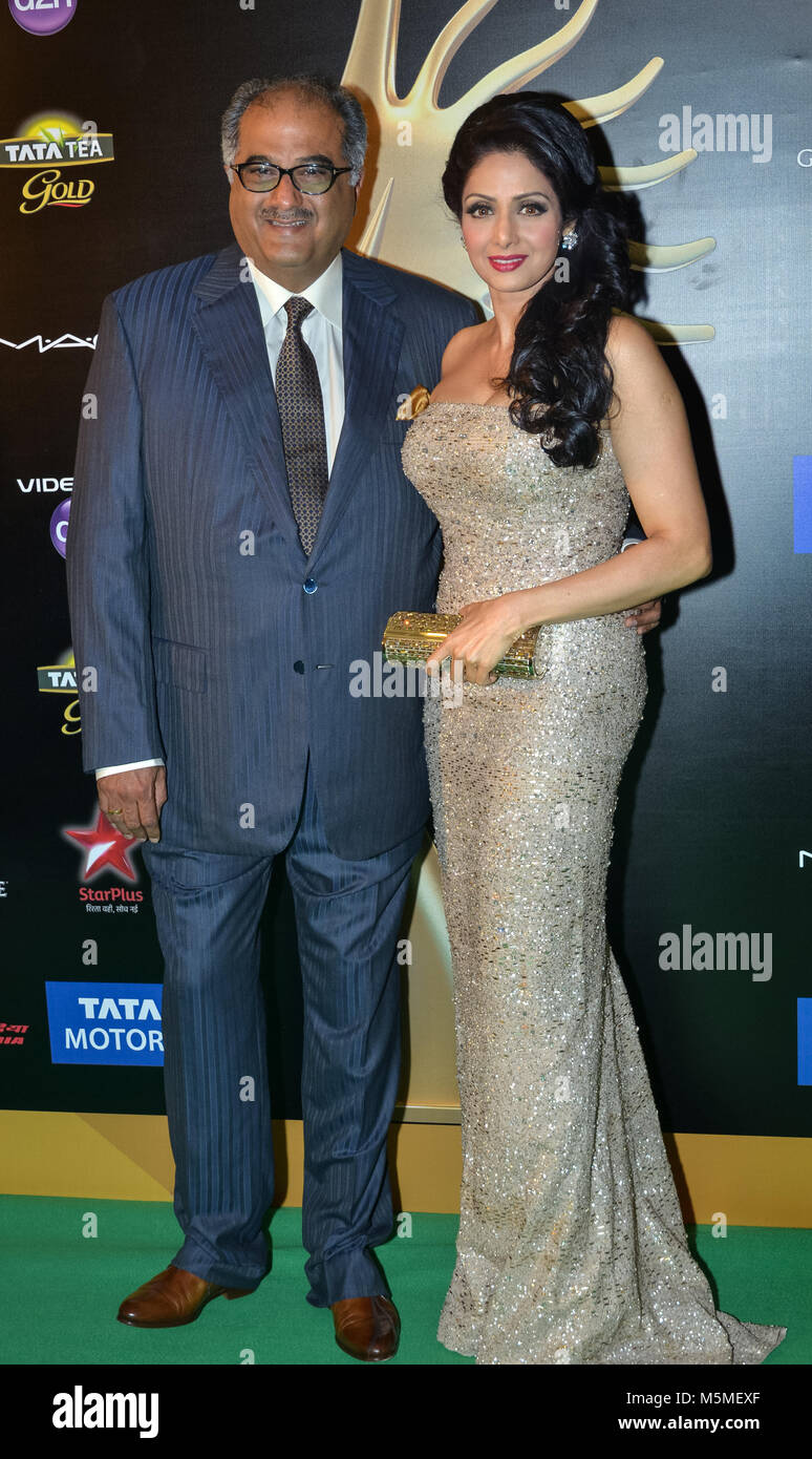 FILE PICS: Macao Sar, China.Bollywood Star Sridevi Kapoor dead at 54. Sridevi (R) on the red carpet with her husband - Stock Image