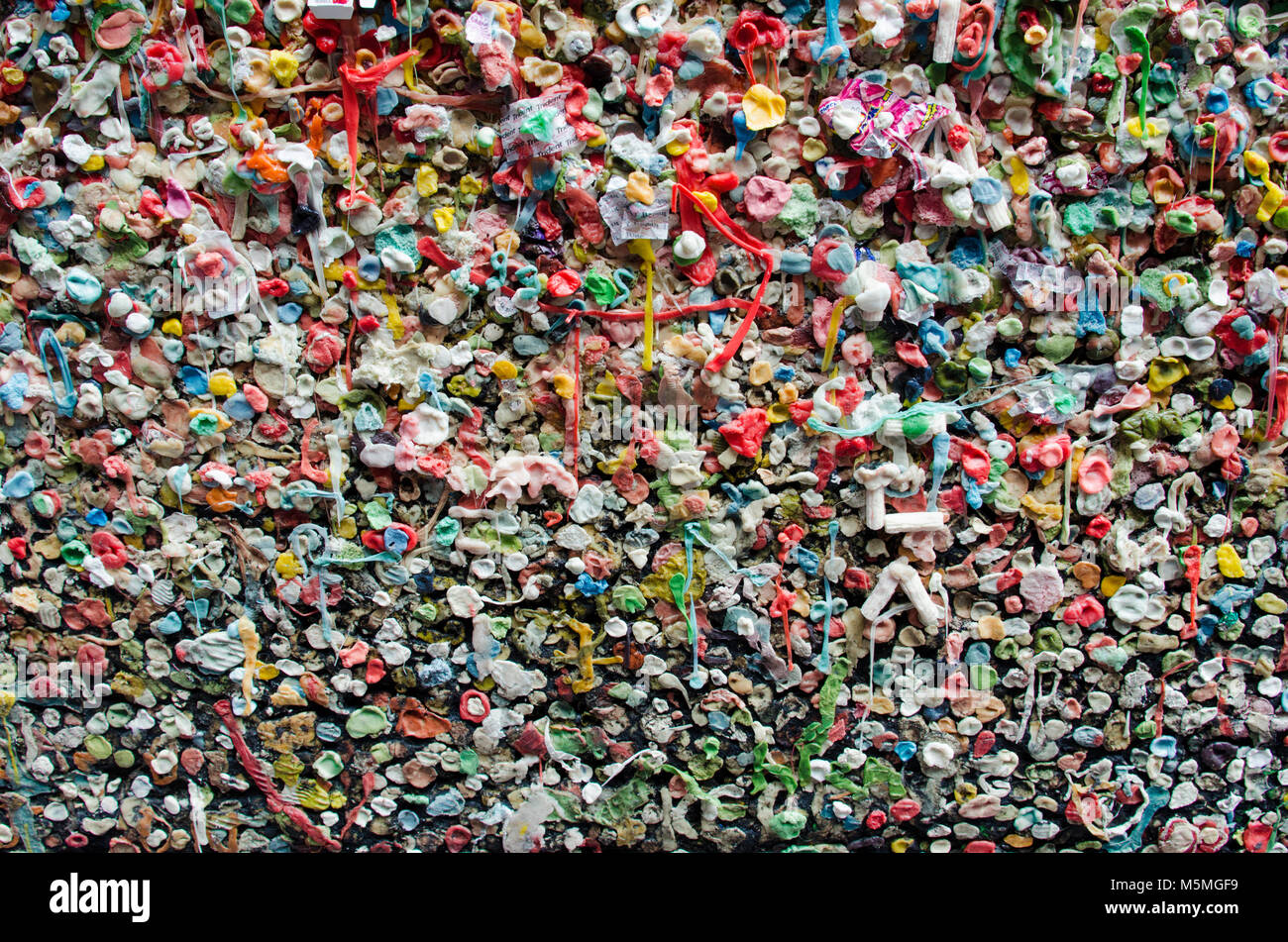 Gum wall under Pikes Market in Seattle, WA - Stock Image
