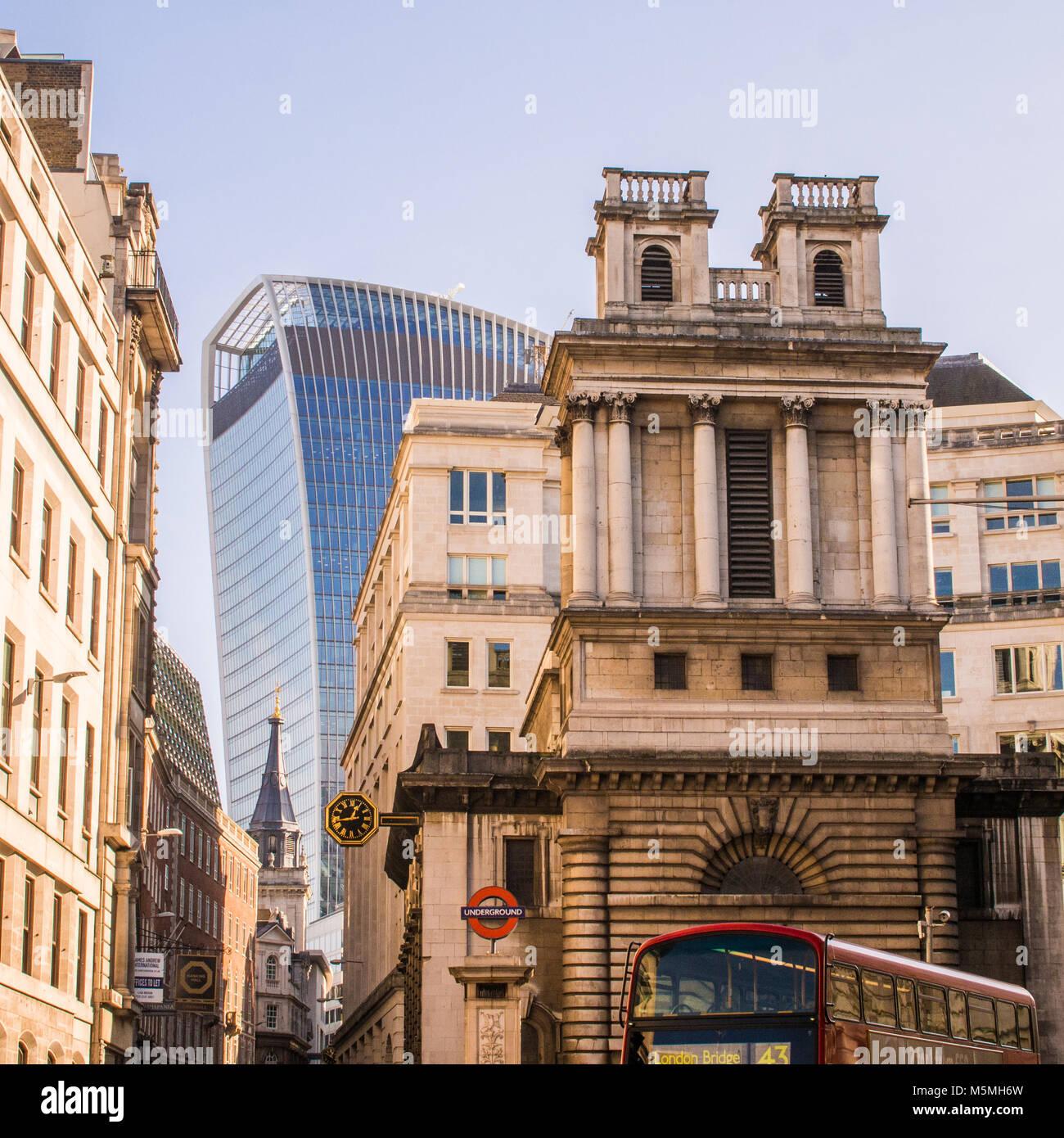Looking toward the 'Walkie Talkie' Sky Scraper housing the 'Sky Garden'. London. - Stock Image