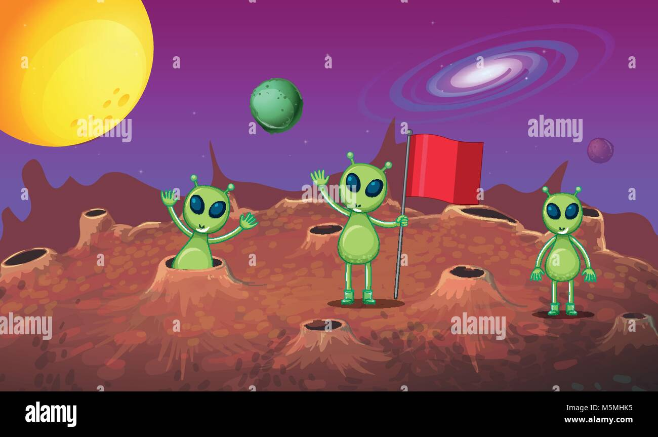 Three aliens exploring the new planet illustration - Stock Vector