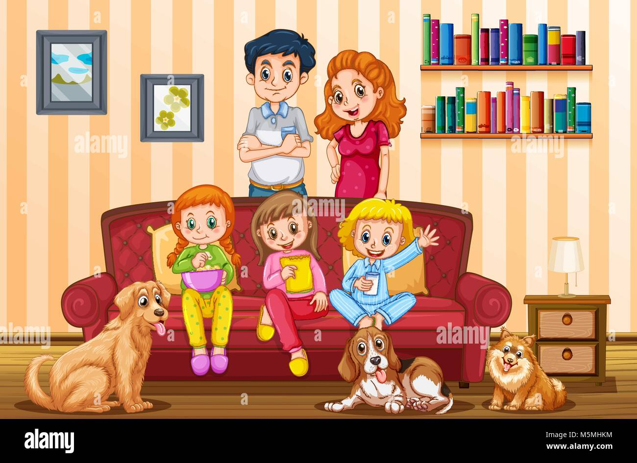 Family with three girls and dogs in livingroom illustration - Stock Vector