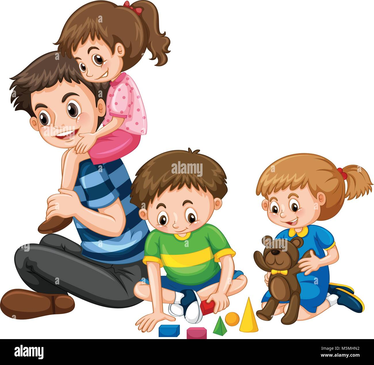 Family with father and three kids illustration - Stock Vector