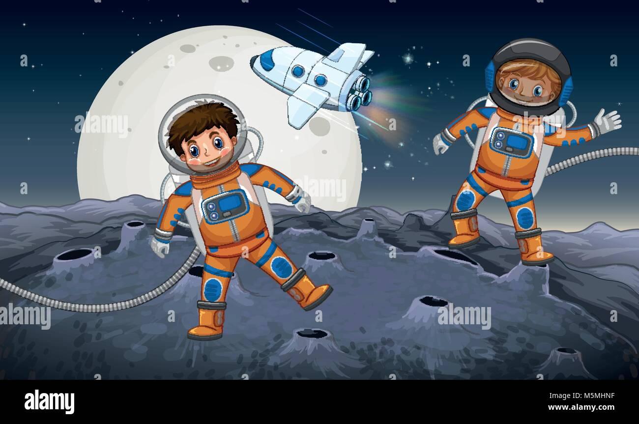 Two astronauts exploring on strange planet illustration - Stock Vector