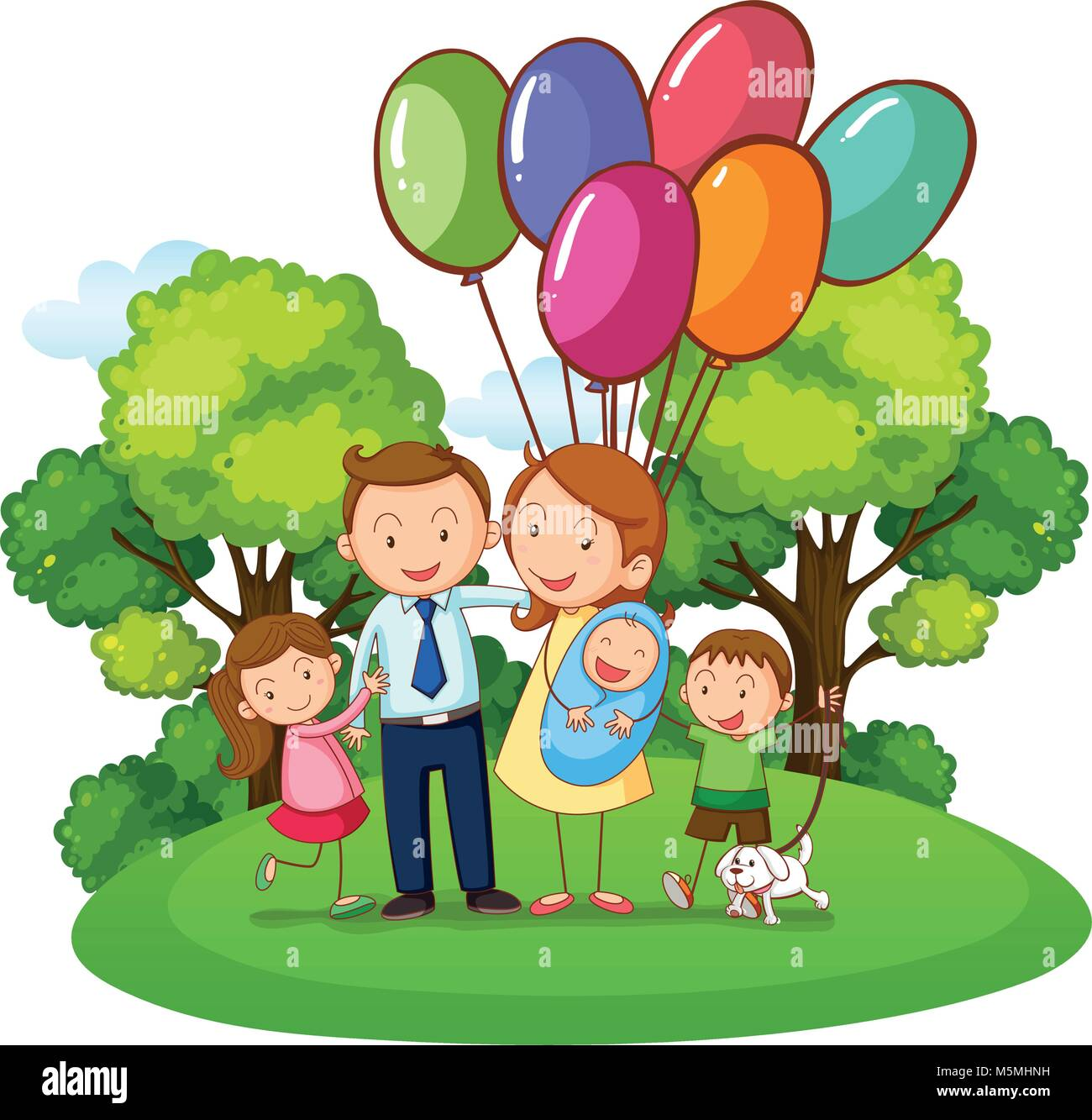 Family with three kids in the park illustration - Stock Vector