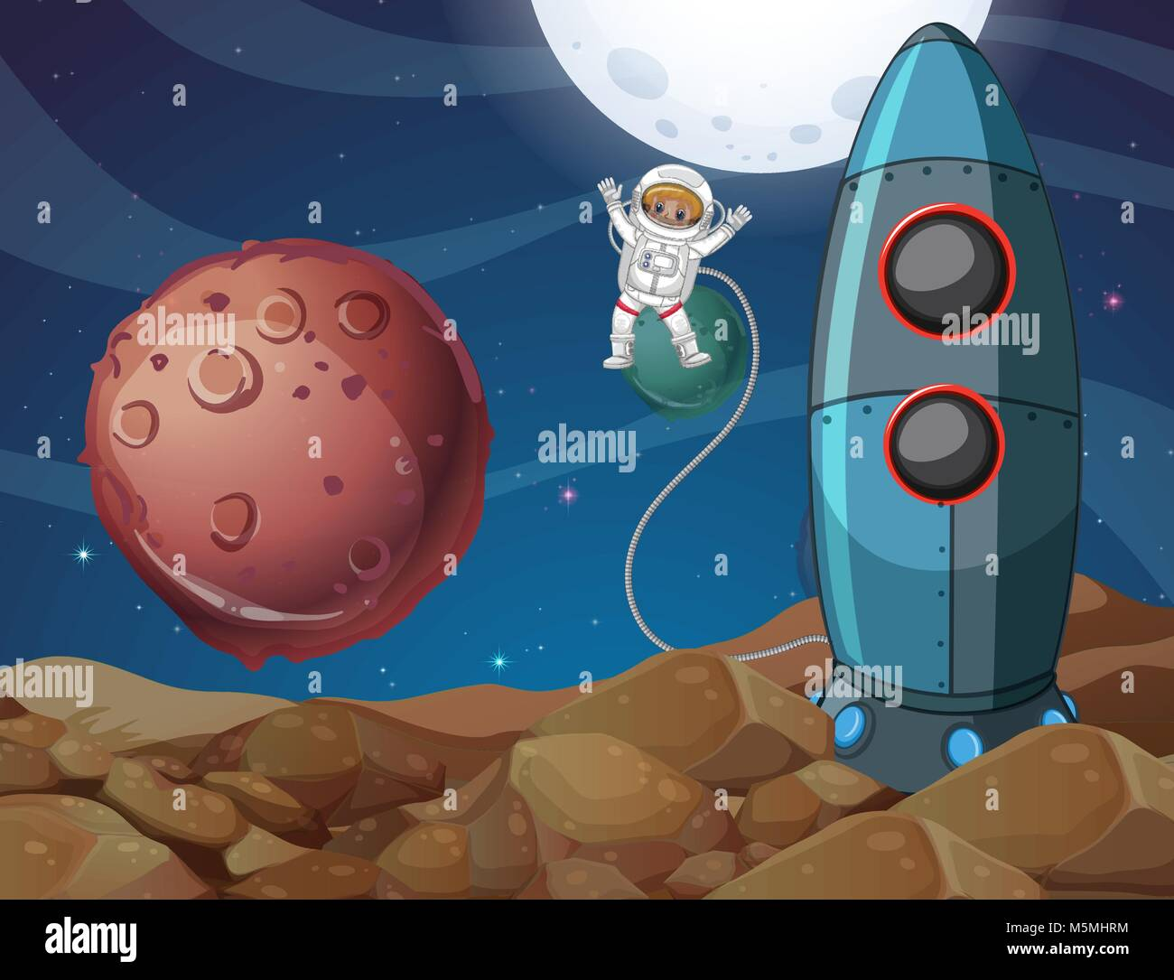 Spaceman exploring new planet illustration - Stock Vector