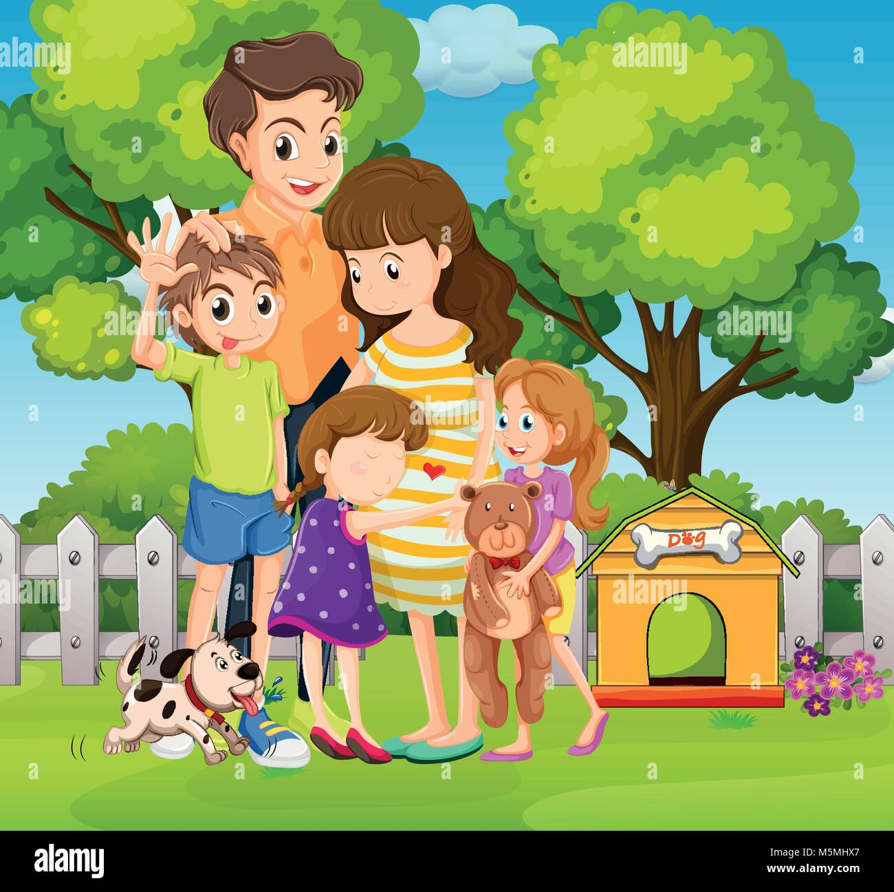 Lovely family with three kids and dog in garden illustration - Stock Vector