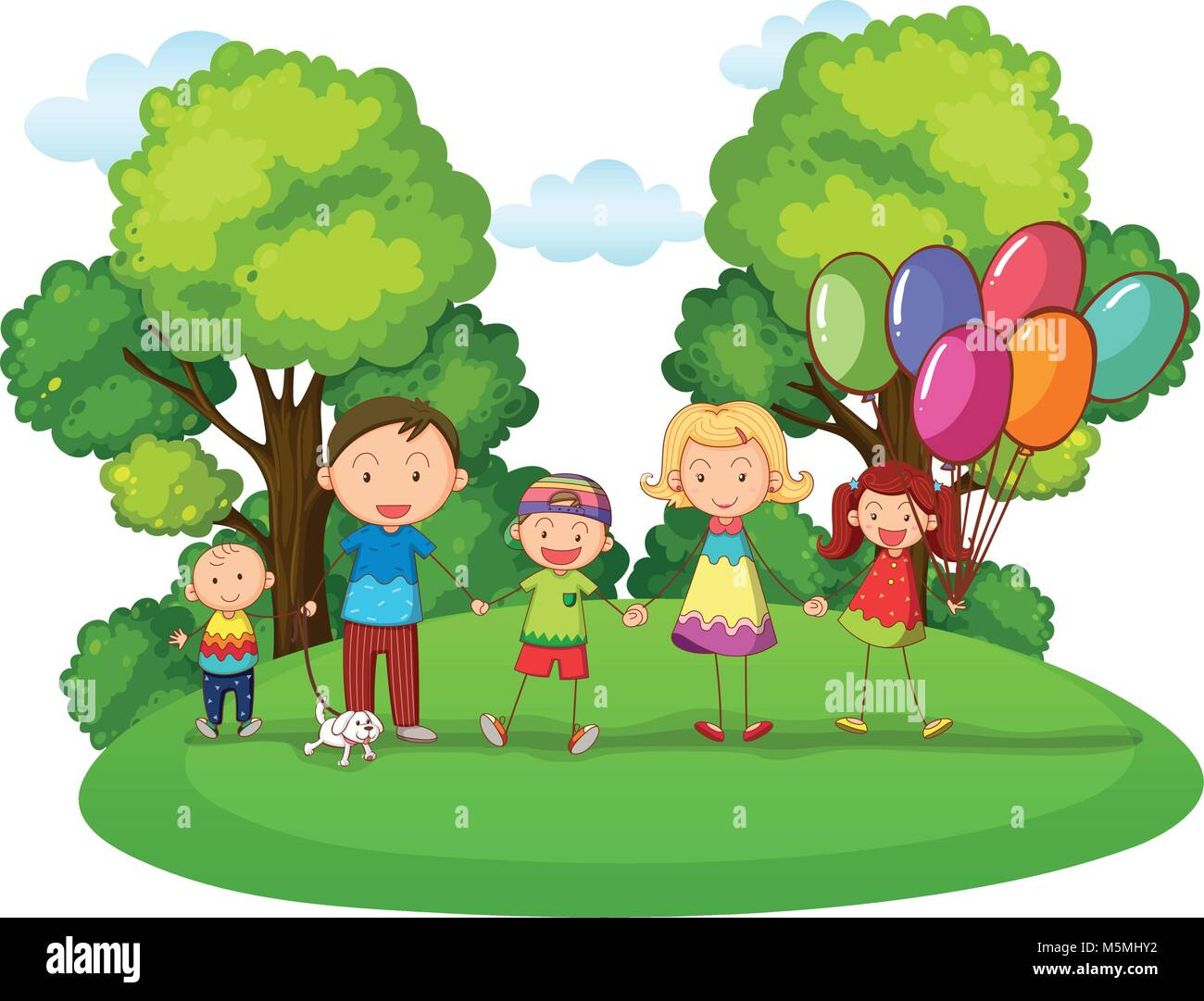 Family with three kids playing in park illustration - Stock Vector