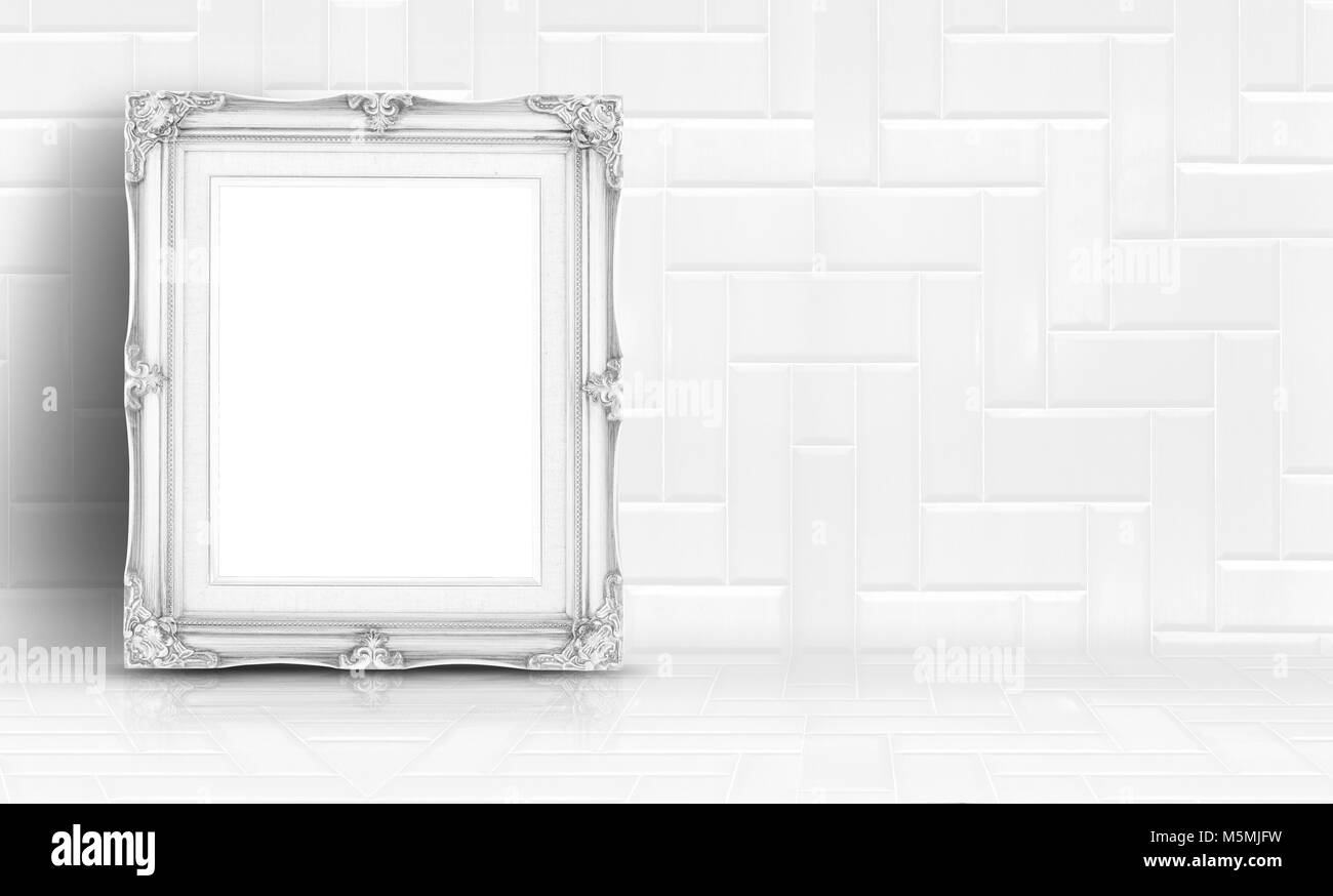 Empty white clean tile wall and floor background,Minimal simple style interior backdrop - Stock Image