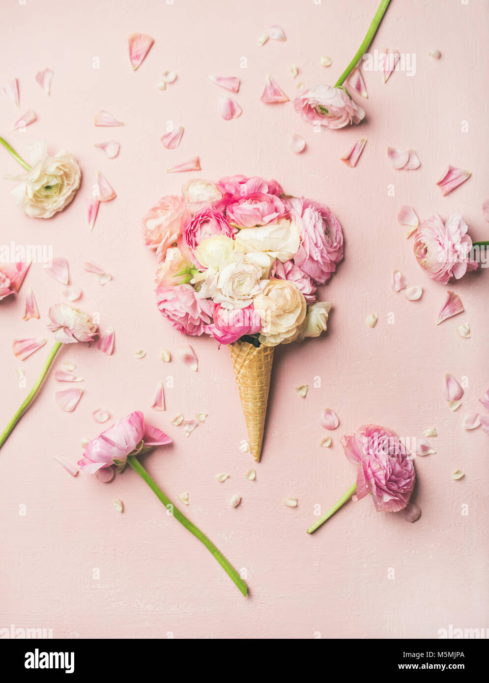 Waffle cone with pink and white buttercup flowers - Stock Image