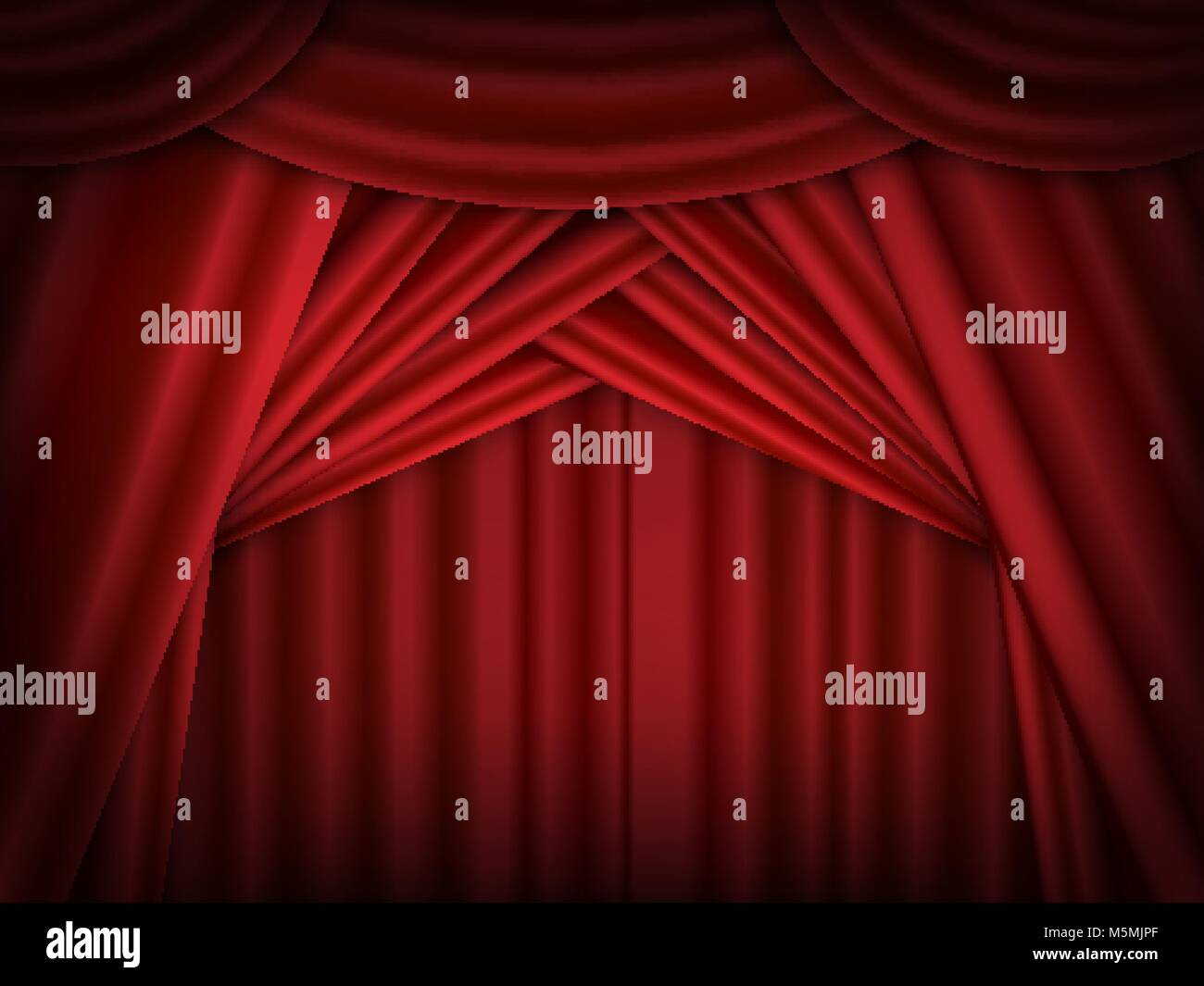 Vector red stage curtains open. Red drapes reflected. - Stock Vector