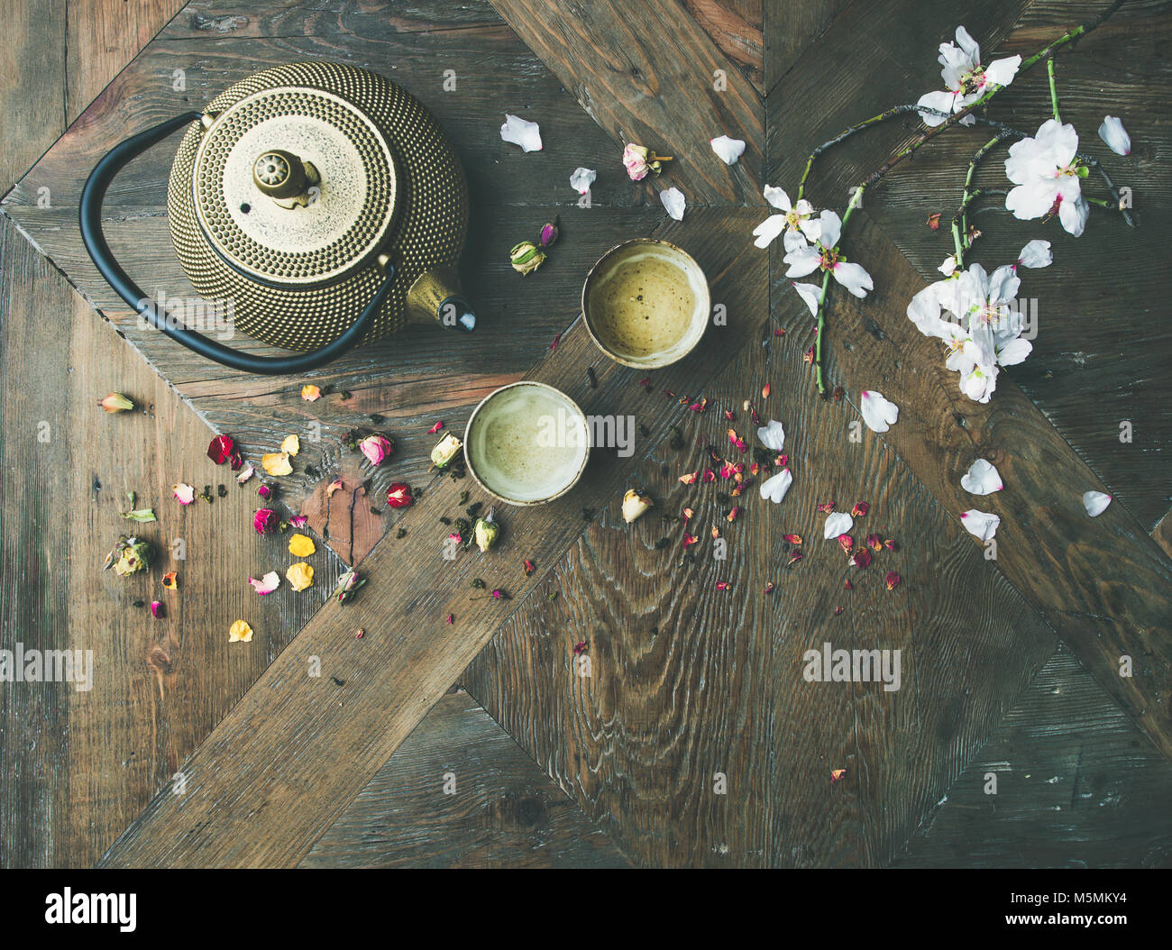 Flat-lay of Traditional Asian tea ceremony arrangement, copy space - Stock Image