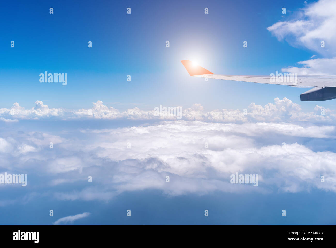 Large civil aircraft, flying over the India ocean - Stock Image