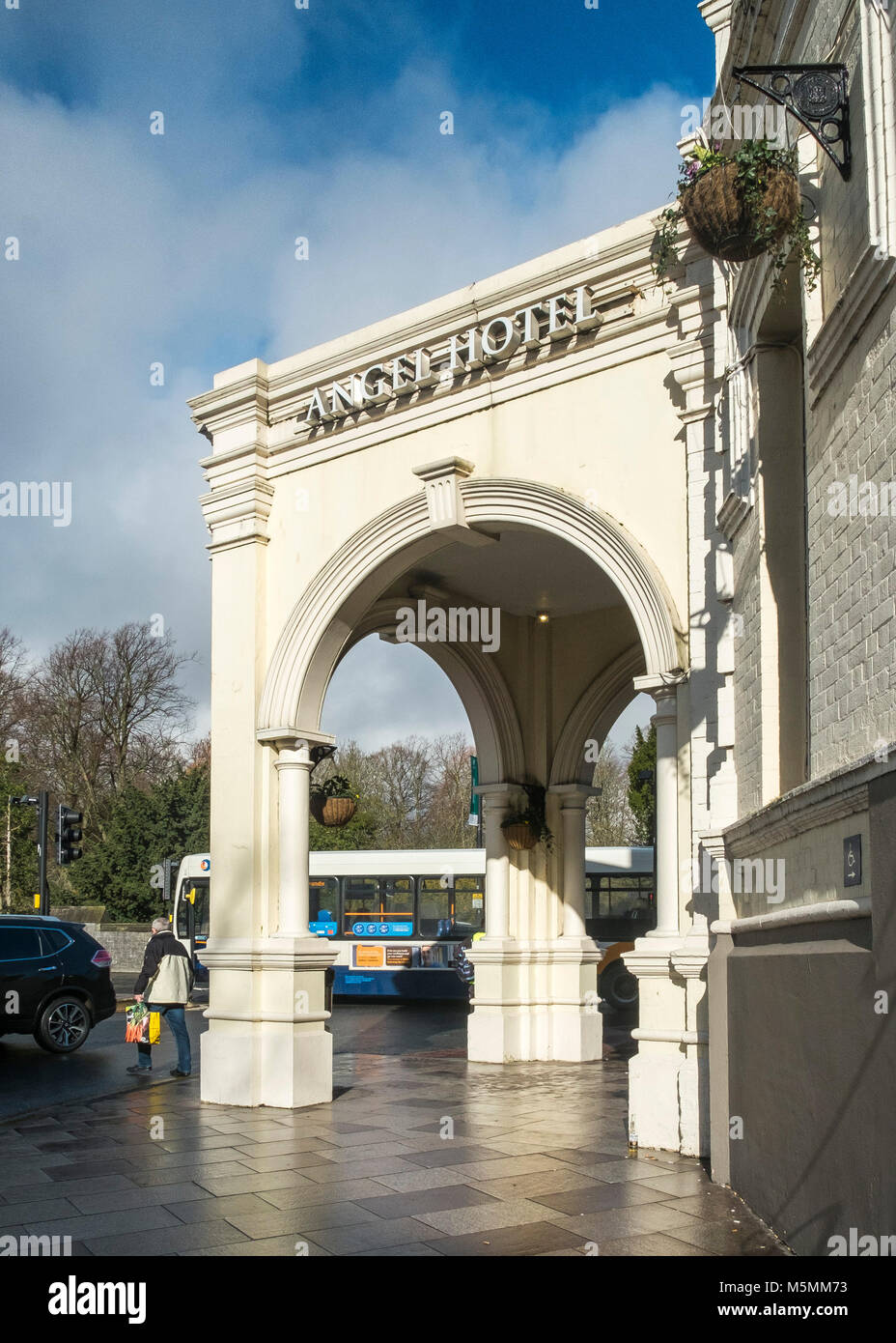The portico of the historic Angel Hotel in Cardiff Wales. - Stock Image