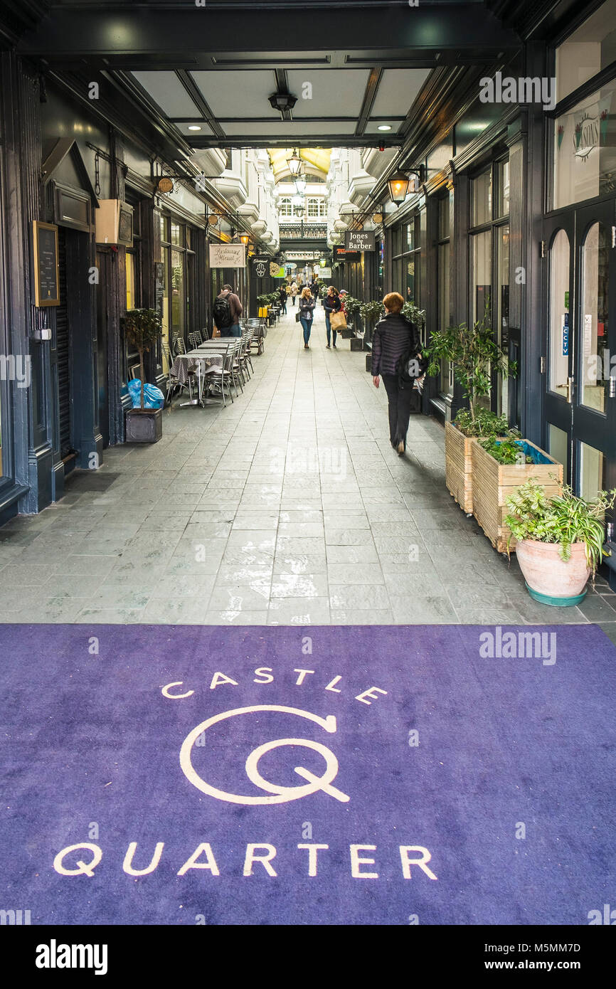 Castle Arcade an historic Victorian arcade in the Castle Quarter in Cardiff City centre in Wales. - Stock Image