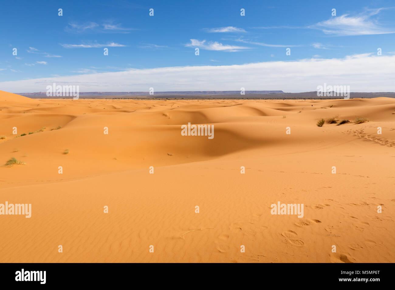 Sand dunes in the Sahara Desert, Morocco - Stock Image